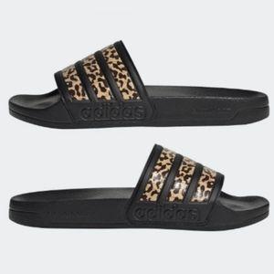 NWT Adidas Adilette shower slides leopard print